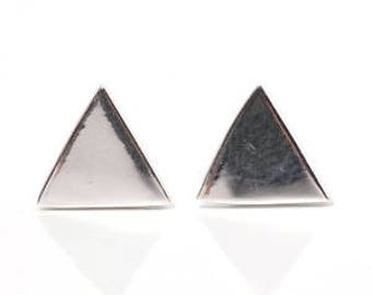 Triangle Sterling Silver  -Gold Plated  -Matte Finished  -Stud Earring