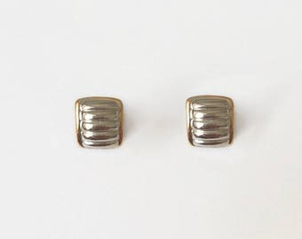 Vintage 1970's Silver Gold Curved Square Ridged Lined Small Clip On Earrings