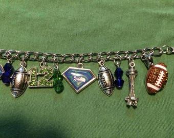 Seahawks themed Charm Bracelet