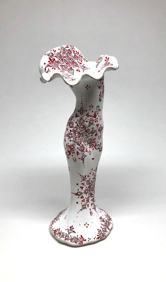 Hand Painted Decorative Vase Women Body Shape Red Dress