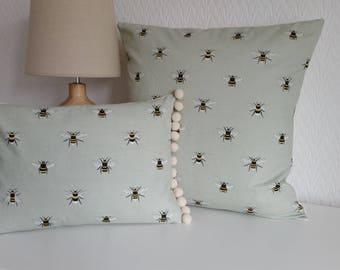 Handmade Sophie Allport Bees Cushion Cover with Pom Pom Trim