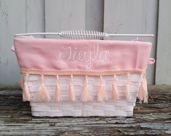 Personalized Easter Baskets Wicker Basket With Metal Handle Monogrammed Embroidered