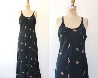 cotton maxi dress / Spring maxi dress / 90s rosebud dress