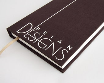 Designers sketchbook - personalised high quality creative present available in orange, purple, teal green, beige or brown fabric