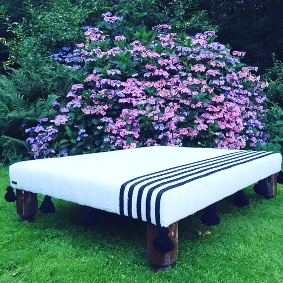 Bespoke Made to Order Custom Moroccan Boho Pom Pom Tassel Black and White Stripe Blanket Footstool Ottoman