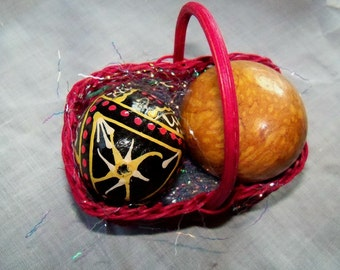 Wooden Egg and Painted Russian Egg, in a Basket