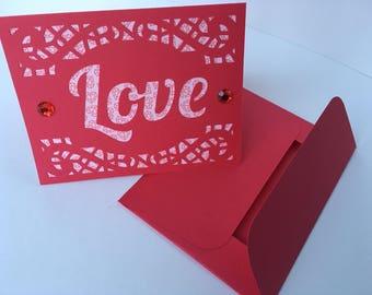 Handmade 'Love' Anniversary/ Wedding Card