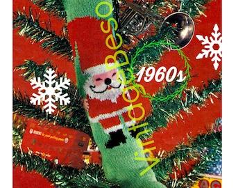 "Vintage 60's Christmas Knit ""STOCKING"" - PDF Pattern - UK"