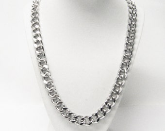 Chunky Thick Link Silver Plated Curb Chain Necklace