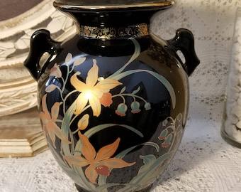 Double handle black Asian vase