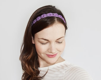 Boho Headband, Gift for Her, Purple Headband Adult, Gift for Mom, Boho Forehead Band, Forehead Headband, Bohemian Wedding Forehead Tiara