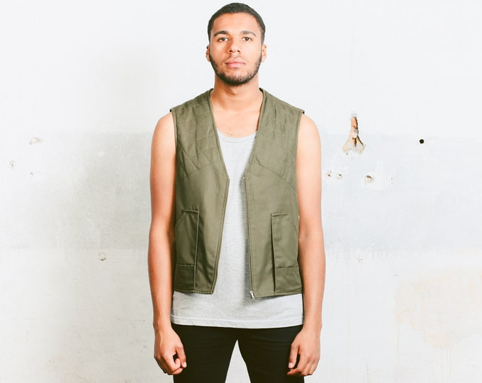 Vintage Hunting Vest . Khaki Green Men's Sleeveless Jacket 80s Clothing Fisherman Style Duck Vest Retro Waistcoat . size Medium to Large