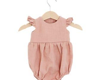 Rose Linen Flutter Sleeve Bubble Playsuit, baby linen romper, girl linen romper