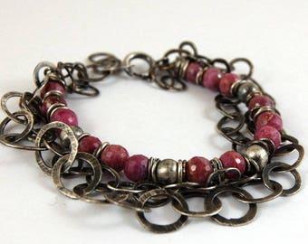 ruby silver bracelet, multi strand chain silver bracelet, silver handmade handcrafted chain
