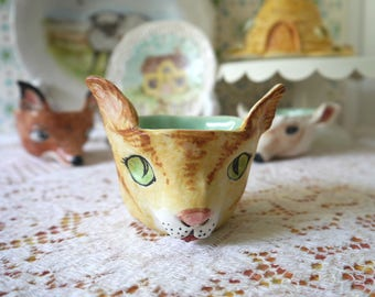 Ceramic Pinch Pot Cup, Yellow Tabby Kitty Cat Face, Hand Sculpted from Porcelain Clay, Mint Green Glaze Inside