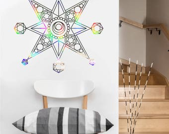 Metatron Star Vinyl Decal | Laptop or Wall | Mandala Sacred Geometry | Geometric Yoga | Rainbow Holographic Sticker