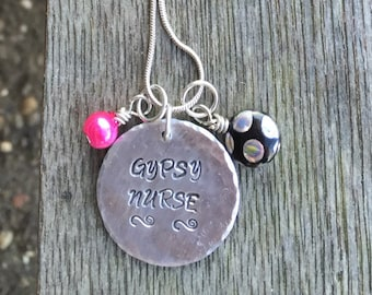 Gypsy Nurse, Hand Stamped, Traveling Nurse Jewelry, Personalized Jewelry