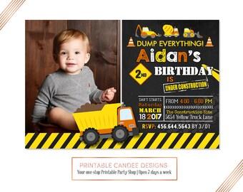 Dump Truck Birthday Invitation, Construction Birthday Invitation, Construction Party, Dump Truck Invite