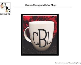 Custom Monogram Coffee Mugs