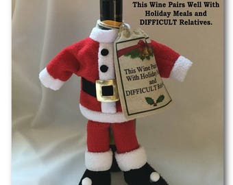 This Wine Pairs Well With Holiday Meals and DIFFICULT Relatives - Santa Wine Bottle Cover & Sack