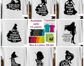 Women's Disney Princess Shirt. Graphic tee. Disney Gifts for her Cinderella Belle Frozen Mulan Pocahontas Snow White Ariel Merida Rapunzel.