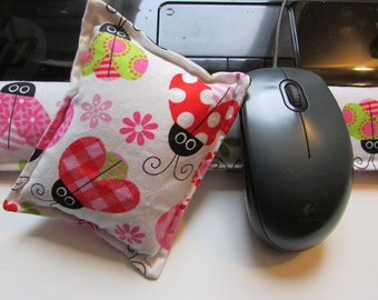 Hot/ Cold Aromatherapy Keyboard and Mouse Wrist Supports Pretty Ladybugs