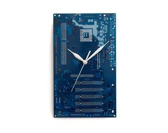 Dark Blue Wall Clock, Computer Geek Gift, Large Wall Clock, Circuit Board Clock, Husband Gift, Housewarming Gift, Dad Gift, Boyfriend Gift