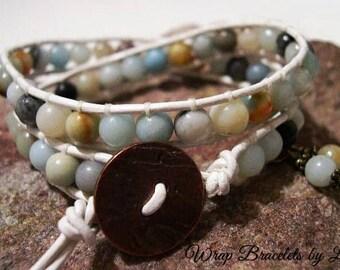 Leather Wrap Bracelet, Beaded Wrap Bracelet, Bohemian Wrap Bracelet - 1008