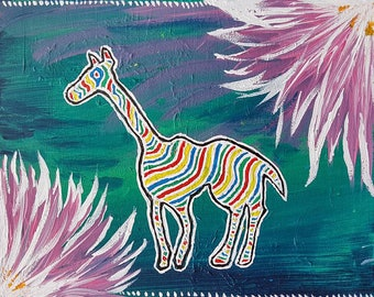 Fruitstripe Critter Original Art By Noelani M Lee / Statement Art / Pop Art / Wall Decor / Inspired Prints / Inspired / Nostalgia
