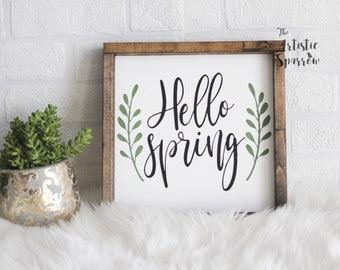 Hello Spring Wood Sign. Easter Decor. Farmhouse Decor. Hello Sign. Easter Sign. Spring Decor. Rustic Wood Signs. Mothers Day Gift