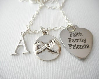 Faith Family Friends, Pinky Promise- Initial Necklace/ Gift Ideas, Birthday Gift, bff jewelry, Personalized Friend, gift for bff