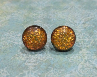Orange Earrings, Hypoallergenic Studs, Fused Glass Jewelry, Autumn Studs, Halloween, Ready to Ship, Button Earring - Ducie- 1919-6