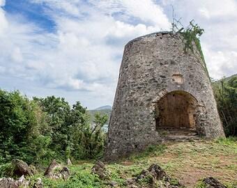 St John USVI Fine Art Landscape Photography, Caribbean Home Decor, Peace Hill Ruin, Travel Photography, Colorful Wall Art, 8x10 Print, 11x14