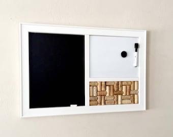 Chalkboard, Magnetic Dry Erase Whiteboard, Wine Corkboard In A White Frame,  Office Decor