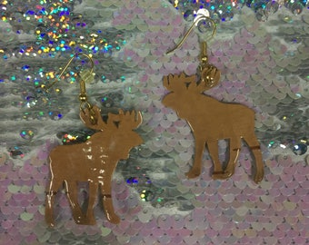 Alaska Paper Birch Bark Moose Earring