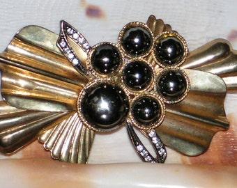 Vintage Brooch - Brass Sash Pin - Iridescent Cabochons - Rhinestone Crystals