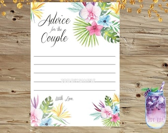 Advice For the Couple/  Bridal Shower Games /Luau Theme / Advice Cards /  Printable Bridal Shower Games / Instant Download