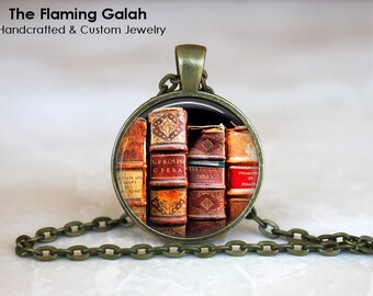 VINTAGE BOOK Pendant • Old Books • Book Lover • Librarian • Writer • Publisher • Necklace • Gift Under 20 • Made in Australia (P1237)