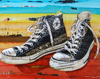Converse shoes retro vintage ART PRINT, Converse sneakers high tops Chuck Taylors old school black red wall decor gift, All sizes