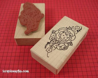 Baby Rosebud Stamp / Invoke Arts Collage Rubber Stamps