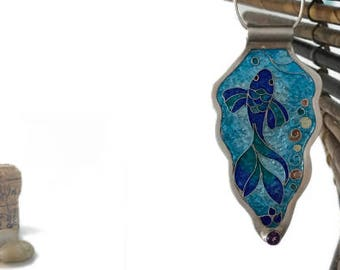 Silver Enamel Fish Necklace