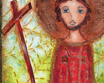 San Felice - Aceo Giclee print mounted on Wood (2.5 x 3.5 inches) Folk Art  by FLOR LARIOS