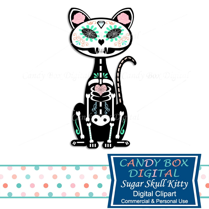 sugar skull cat clipart halloween clip art hipster sugar rh etsy com digital clipart for sale digital clipart ebook