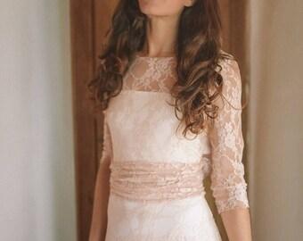 Long sleeve lace wedding dress, rose gold long sleeve wedding dress, all lace wedding dress with sleeves, blush pink wedding dress with lace