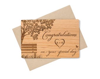 Tree Wedding Congratulations Card. Personalized Wedding Card Wood.