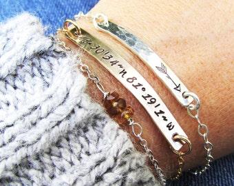 Silver Bar Bracelets -Layering Bracelets -  Home - Gold and Silver Bracelet set of 3 - Arrow Bracelet - hand stamped cooridinate jewelry