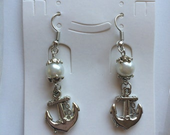 Pearl Anchor Dangle Earrings SILVER Party Favors Girls Nautical Embark Jewelry