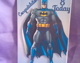 3d Batman birthday card,suitable for any batman fan,a different age,name or family member can be added if you request it when ordering