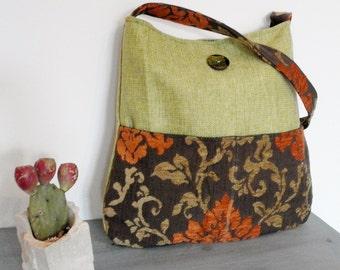 Arabesque Bags - Shoulder bag, italian fabric, tapestry, flowers