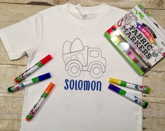 Easter shirt for boys, easter truck shirt, embroidered color me shirt, personalized easter shirt, easter basket ideas for kids, kids craft